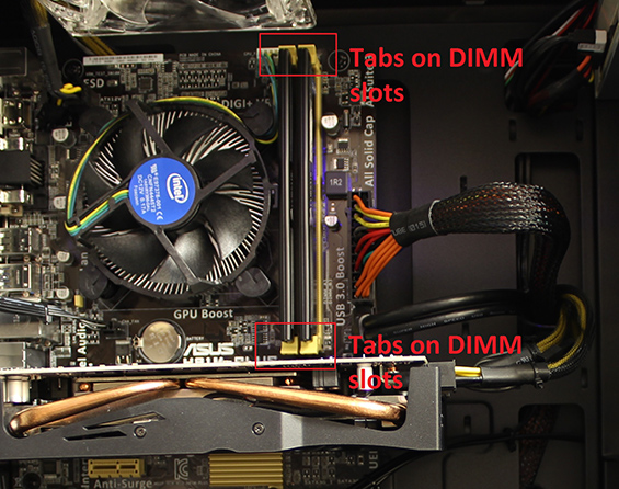 Image of the Tabs on DIMM Slots