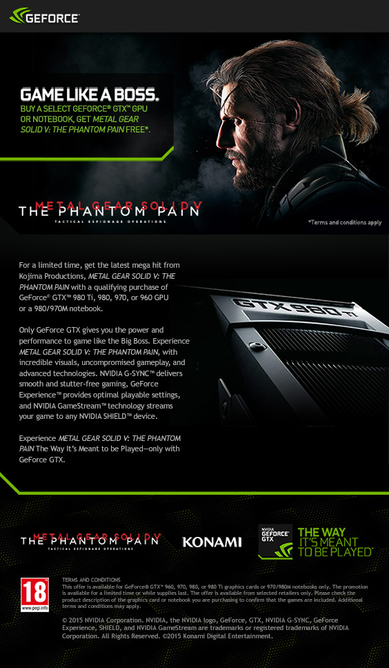 Metal Gear Solid - The Phantom Pain Nvidia Promotion