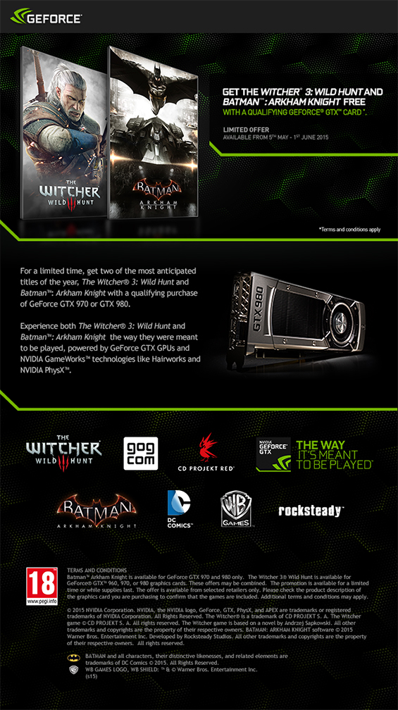 Batman Arkham Knight and the Witcher 3: Wild Hunt Nvidia Promotion