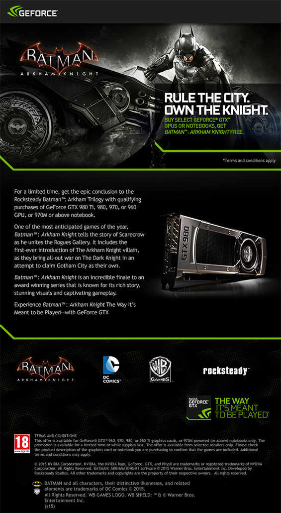 Batman Arkham Knight Nvidia Promotion