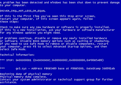 An example BSOD