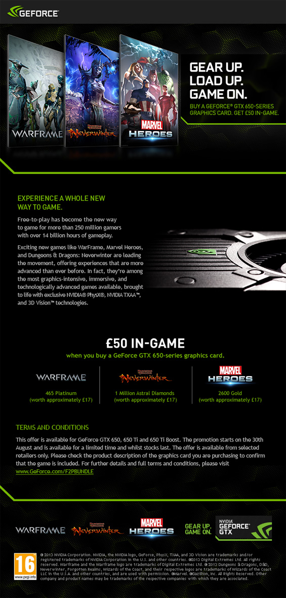 UK Gaming Computers Free to Play Nvidia Promotion