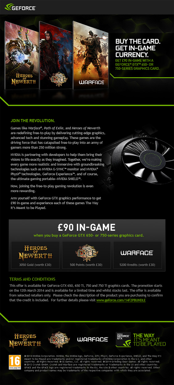UK Gaming Computers & Nvidia Free 2 Play Promotion