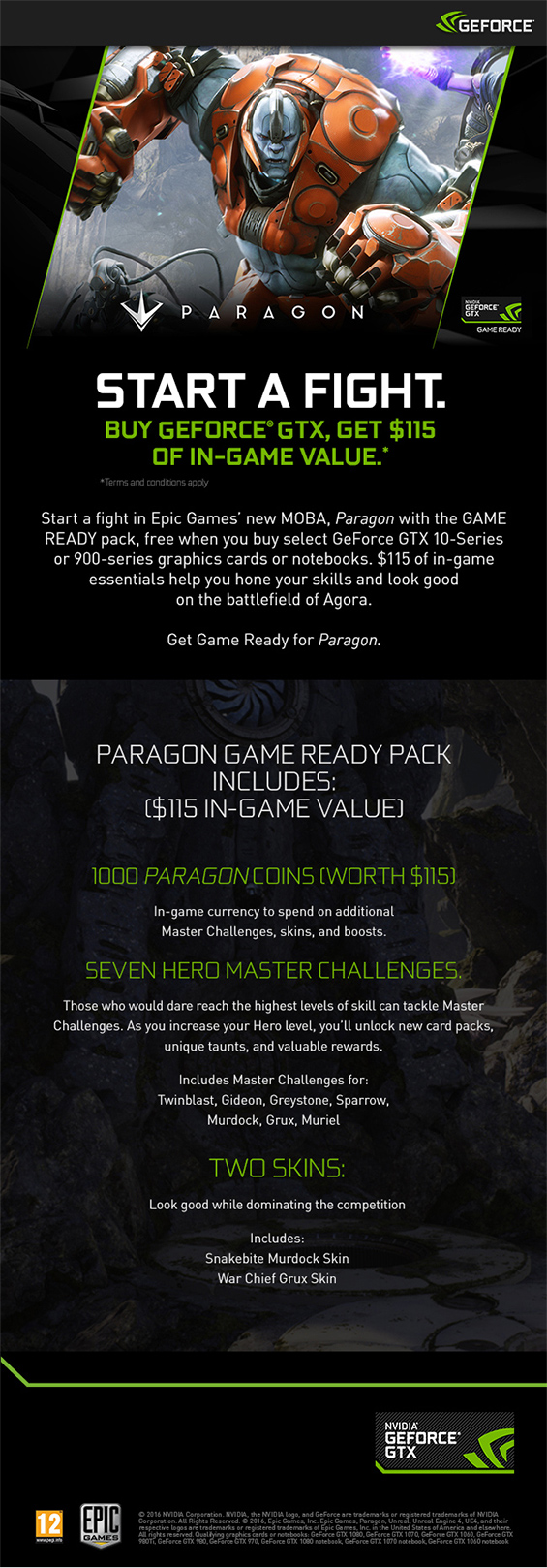 The Nvidia Pargon Game bundle info banner