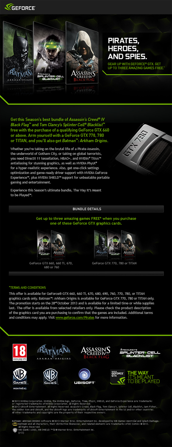 UK Gaming Computers Nvidia Pirates, Spies and Heros Promotion details