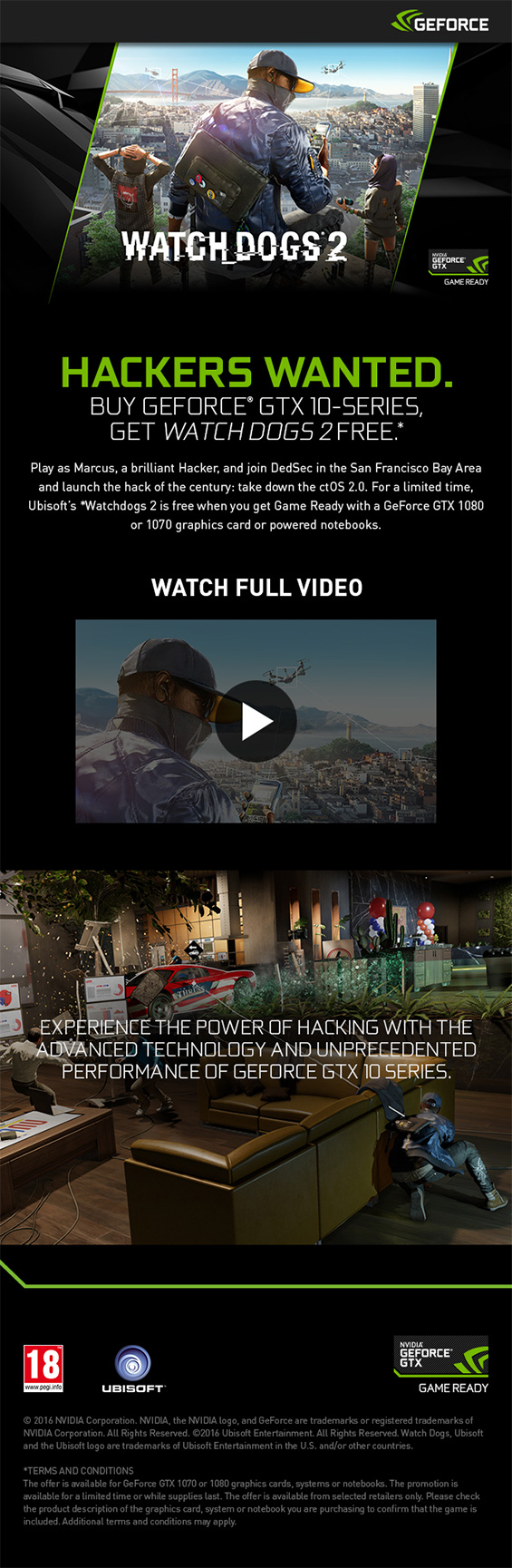 The Nvidia Watch Dogs 2 info banner