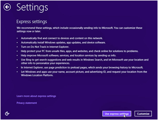 Microsoft Windows 8.1 Install settings information
