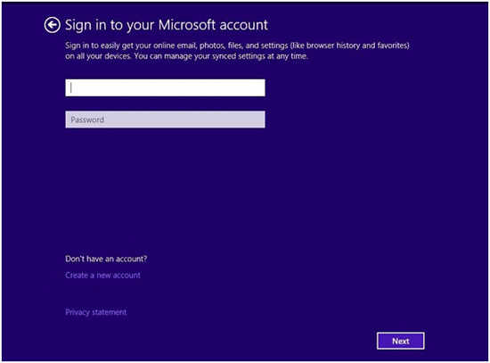 Microsoft Windows 8.1 Install account sign in